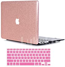 Lykoko Hard Protective Case Shell with Keyboard Cover for MacBook Air 11 Inch (Models: A1370 and A1465) (Rose Gold Leahter Glitter)