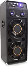 Portable DJ Dance Speaker System - Two-Way PA Stereo 1400 Watts w/ Dual 12'' Subwoofer Built-in LED Flashing Lights RCA Stereo Output Crossover Network & MP3/USB/Micro SD/FM Radio - Pyle PSUFM1245A
