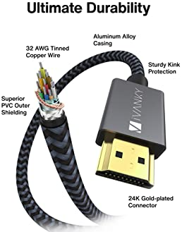 HDMI Cable 4K 10ft, iVANKY 18Gbps High Speed HDMI 2.0 Cable, 4K HDR, HDCP 2.2/1.4, 3D, 2160P, 1080P, Ethernet - Braid...