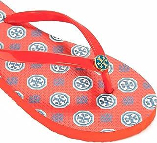674e6b8ac099fb Tory Burch Samba Compass Neckerchief Print Logo TB Thin Flip Flop Sandal 9  Orange
