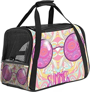 Pet Carrier Colored Rose Spectacles Hippie Sun Glasses Illustration Soft-Sided Pet Travel Carriers for Cats,Dogs Puppy Com...