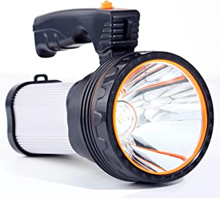 Allflash High Power Super Bright Portable Handheld Spotlight Flashlight 6000 Lumens USB Rechargeable LED Searchlight Waterproof Outdoor Torch Light (Silver)