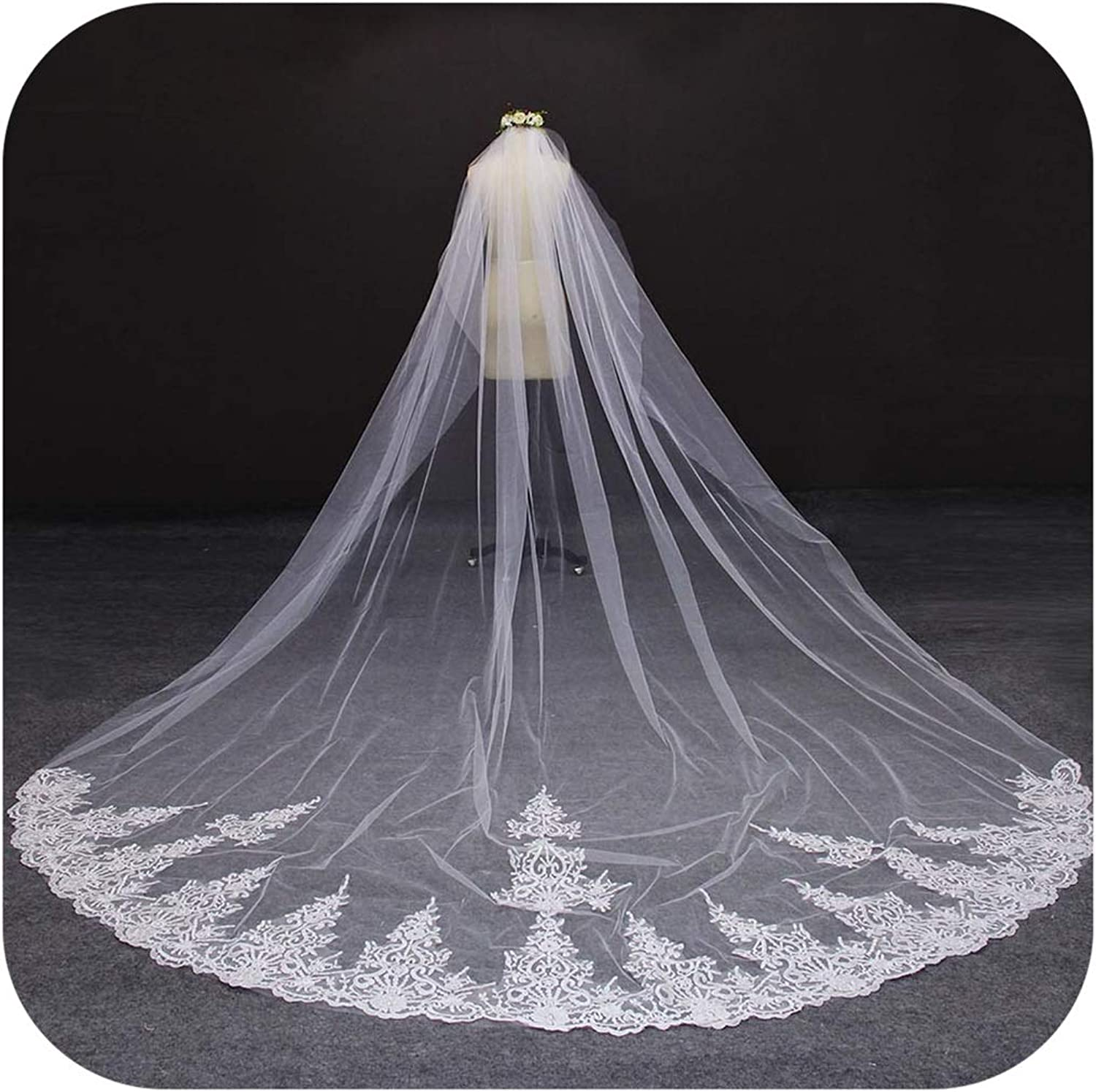 4 Meter White Ivory One Layer Beautiful Cathedral Length Lace Edge Wedding Veil With Comb Long Bridal Veil,White