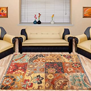 Area Rug Hand-Knotted Using Natural Fiber for Home Decor, in Modern Patch Design