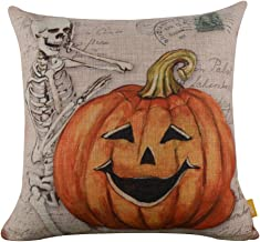 LINKWELL 18x18 Retro Skull Ghost with Pumpkin Burlap Cushion Covers Pillow Case (CC837)