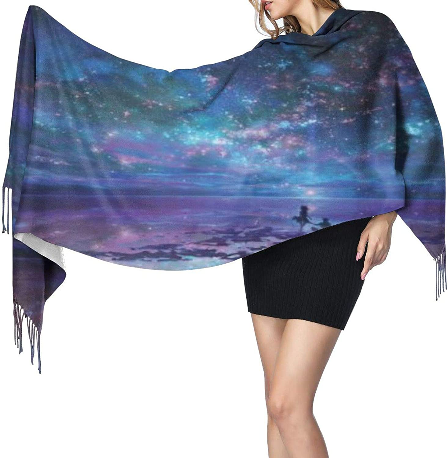 Cashmere fringed scarf Lovers Dream Sky winter extra large scarf