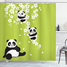 Ambesonne Animal Decor Collection, Baby Panda Bears in a Cherry Bloom Tree Branches with Mom Under the Tree Cartoon , Polyester Fabric Bathroom Shower Curtain, 75 Inches Long, Green Black White
