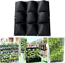 Wall Hanging Planting Bag, 9 Pockets Vertical Garden Wall-Mounted Planters Bag Grow Bags Plant Pouch Container for Indoor ...