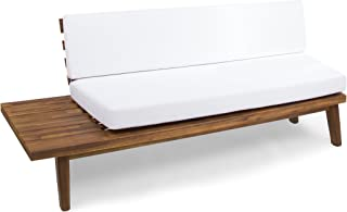 Christopher Knight Home Grace Indoor Minimalist Sandblast Finished Acacia Wood Left Sided Sofa with White Cushions