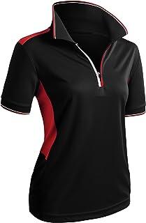 CLOVERY Women`s Active Wear Short Sleeve Zipup Polo Shirt
