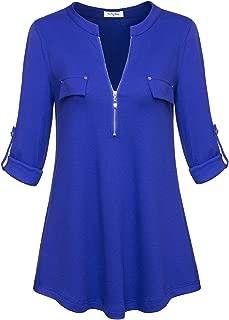 Women's Notch-V Neck Long Sleeve Roll-Up Sleeve Zip Up Casual Shirt Blouse Tops