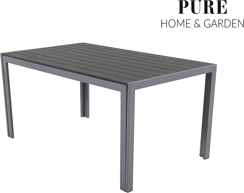 Pure Home & Garden Aluminium Gartentisch Fire XL mit Polywood Tischplatte, 150x90 absolut wetterfest, Silber aus dem Hause