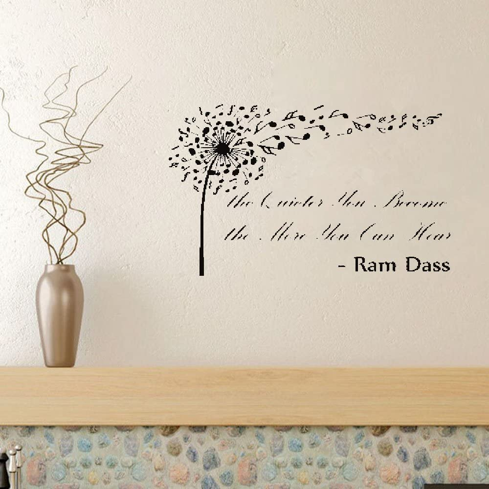 Indtio Vinyl Wall Sticker Mural Bible Letter Quotes Ram Dass The Quieter You Become The More You Can Hear Home Kitchen