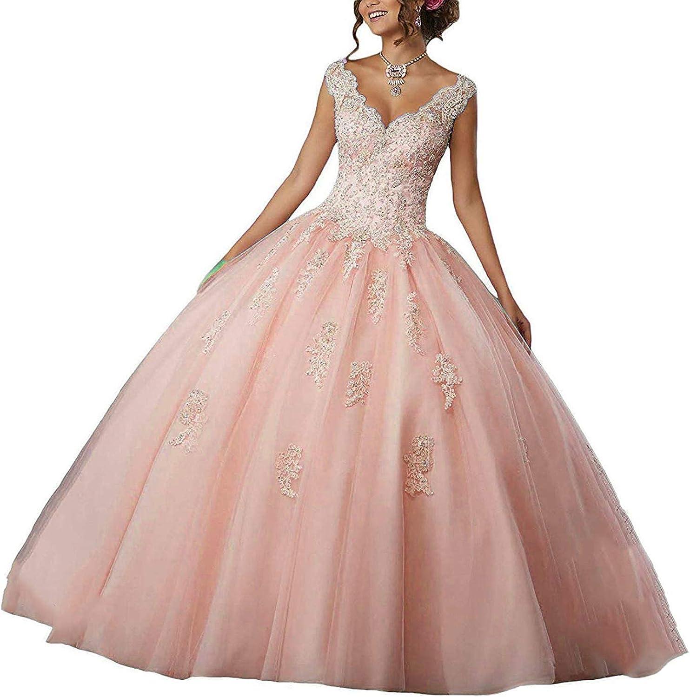 New arrival Natasha Girl's Fashionable V-Neck Beading Lace Quinceanera Sweet Dresses 16