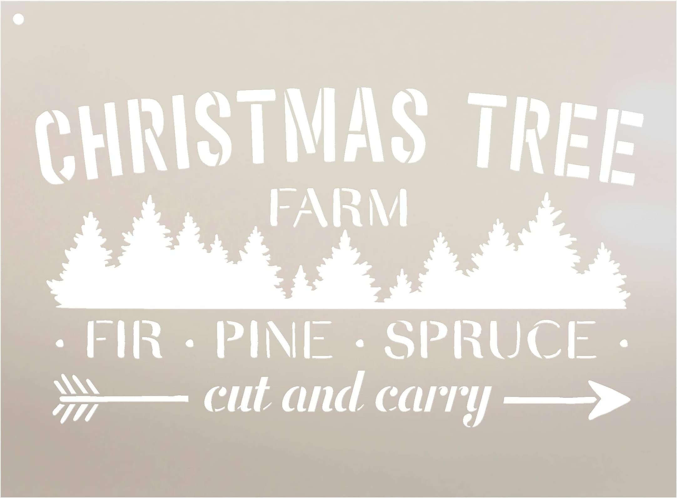 Christmas Tree Farm Stencil by StudioR12 | Fir Pine Spruce Arrow | Reusable Mylar Template Paint Wood Sign Craft Vintage Winter Holiday Home Decor | Rustic DIY Seasonal Country Farmhouse Select Size