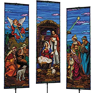 Stained Glass Design Christmas Nativity Scene Hanging Polyester Banners with Grommets, 3 Piece Set, 5 Feet