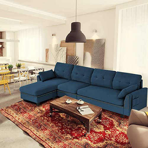 lowest Giantex Reversible Sectional Sofa sale Couch 4-Seat, L-Shaped high quality Couch with Storage Ottoman, Modern Linen Fabric Convertible Sofa Couch Set with Chaise Lounge for Living Room and Apartment (Navy) sale