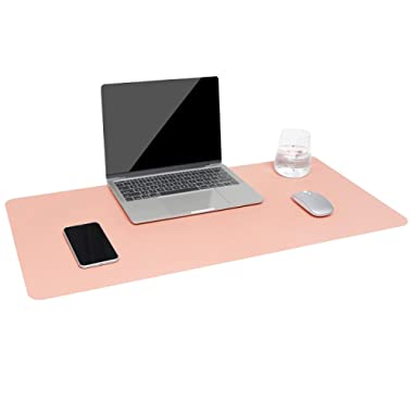 Dual-Sided Multifunctional Desk Pad, Waterproof Desk Blotter Protector, Leather Large Desk Wrting Mat Mouse Pad(31.5  x 15.7 , Pink)