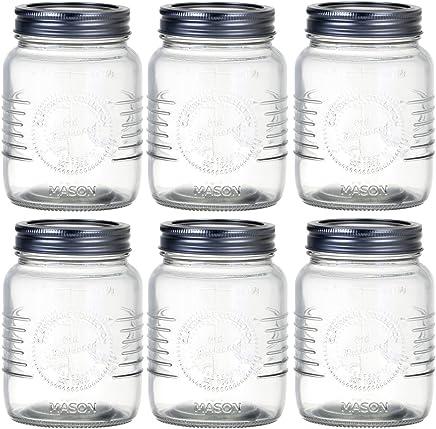 Preisvergleich für Promobo Set mit 6 Einmachgläsern, 500 ml, Marmeladenglas, Gewürzglas Motiv: Mason, Retro-Design, Vintage