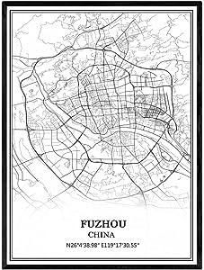 Fuzhou China Map Wall Art Canvas Print Poster Artwork Unframed Modern Black and White Map Souvenir Gift Home Decor
