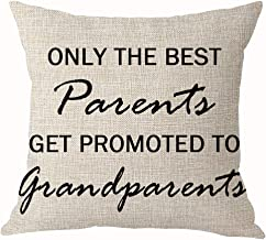 Summerr Only The Best Parents Get Promoted to Grandparents Best Throw Pillow Cover Cushion Case Cotton Linen Home Office Decoration Square 18X18 Inch (C)