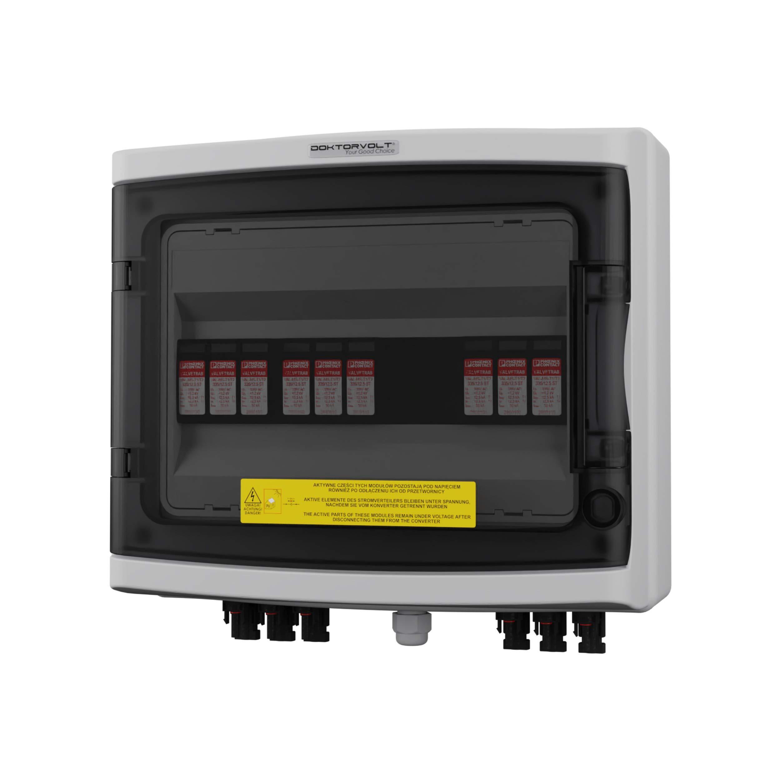 Caja de conexión solar fotovoltaica DC 1000 V T1 T2 3 cuerdas MC4 protección contra sobretensiones Doktorvolt 2438: Amazon.es: Bricolaje y herramientas