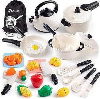 D-FantiX Kitchen Pretend Play اسباب بازی های کودکان و نوجوانان وسایل آشپزخانه لوازم جانبی لوازم بازی کودکان و نوجوانان قابلمه و قابلمه آشپزخانه ، زودپز ، ظروف ، ست غذای برش برای کودکان نوپا دختران پسر 3 4 5 سال
