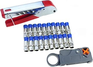 Coax Cable Crimper Elibbren Coaxial Compression Tool Kit with Wire Stripper Tool F RG6 RG59 Connectors of 10PCS