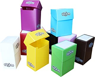 Totem World 10 Premium Deck Boxes in Assorted Bright Colors - Fits Pokemon, Yu-Gi-Oh, and Magic The Gathering Cards - Durable Plastic Won't Bend Or Break - Perfect Party Favors Or Kids Birthday Gifts