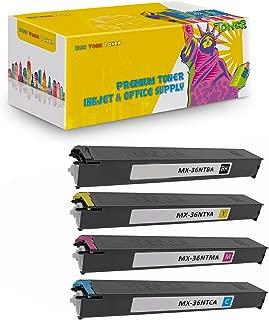 New York TonerTM New Compatible 4 Pack MX-36NTBA MX-36NTCA MX-36NTMA MX-36NTYA High Yield Toner for Sharp - MX 2610   2610N   2615   2640N   3110N . -- Black Cyan Yellow Magenta