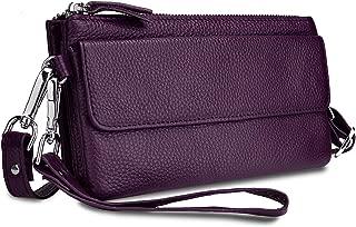 YALUXE Women's Leather Smartphone Wristlet Crossbody Clutch with RFID Blocking Card Slots Purple