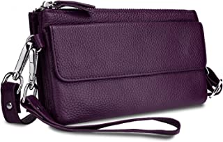 YALUXE Women's Leather Smartphone Wristlet Crossbody Clutch with RFID Blocking Card Slots Purple