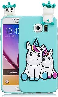 d457c5c1f92 Funluna Funda Samsung Galaxy S6, 3D Unicornio Patrón Cover Ultra Delgado TPU  Goma Cover Suave