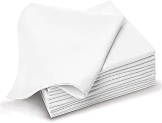 Pizuna Cotton-Dinner-Napkins 6 Pack White, 100% Long Staple Cotton Soft Absorbent Cloth Napkins, Luxurious Smooth Table-Re...