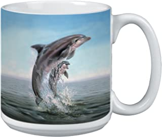 Dolphin Leaping Extra Large Mug, 20-Ounce Jumbo Ceramic Coffee Mug Cup, Wildlife Themed Art - Gift for Dolphin Lovers (XM29920) Tree-Free Greetings