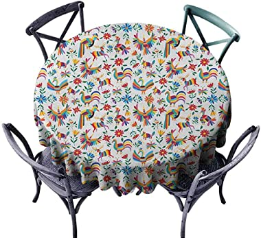 HOMEDECORATIONS Waterproof Round Tablecloth Table Cover Mexican,Traditional Latin American Art Design with Natural Inspirations Flowers and Birds, Multicolor Diameter 70""