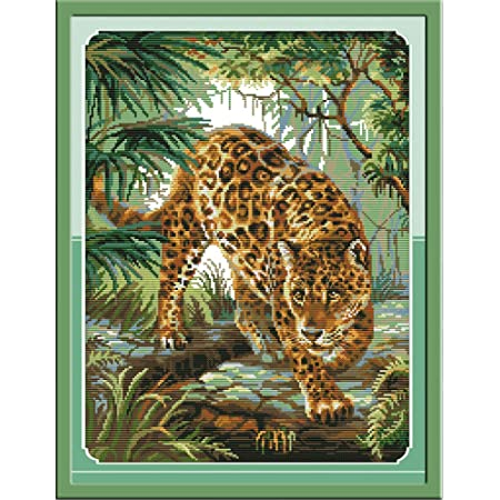 Cross Stitch Kits, Jungle Leopard Animals Awesocrafts Easy Patterns Cross Stitching Embroidery Kit Supplies Christmas Gifts, Stamped or Counted (Leopard, Counted)