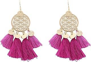 Boho Circle Drop Tassel Earrings For Women