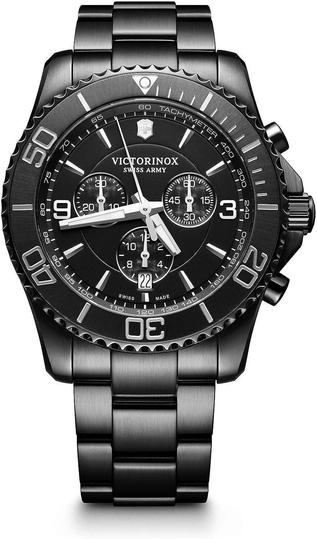 Victorinox Hombre Maverick Black Edition - Reloj de Acero Inoxidable de Cuarzo analógico de fabricación Suiza 241797