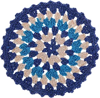 Prettyia Hand Crochet Flower Round lace Doily doilies Cotton placemat Cup Coaster Mug Dinner Kitchen Table Place mat Wedding Party Cup pad, 110mm, Multicolors - 2
