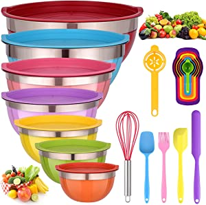 Mixing Bowls with Lids for Kitchen - 26 PCS Stainless Steel Nesting Colorful Mixing Bowls Set for Baking,Mixing,Serving & Prepping,Size 7, 5.5, 5, 4, 3, 2, 1.5QT,12 Colorful Cooking Utensils