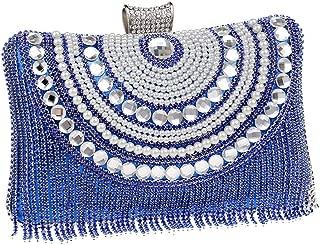 Redland Art Women's Fashion Mini Pearl Beaded Tassel Clutch Bag Wristlet Catching Purse Evening Handbag for Wedding Party (Color : Blue)