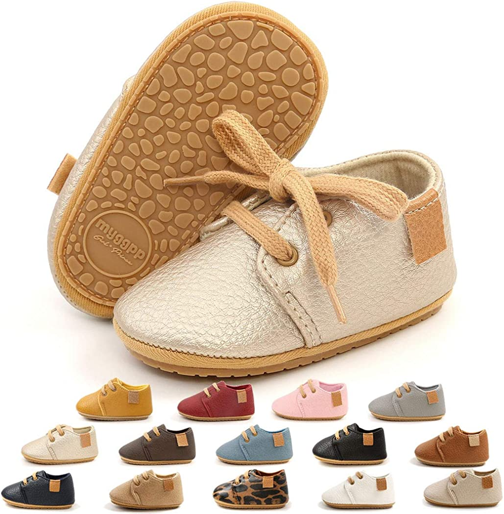 Baby Boys Girls Leather Sneakers Rubber Anti-Slip Sole Oxford Loafers Toddler Shoes Infant Walking Moccasins