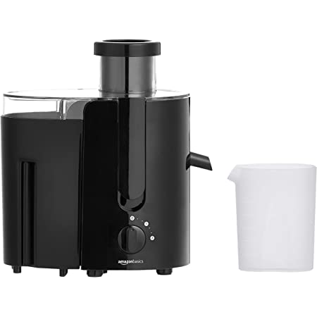 Amazon Basics Wide-Mouth, 2-Speed Centrifugal Juicer with Juice Jug and Pulp Container, Black