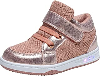 YILAN Toddler Glitter Shoes Girl's Flashing Sneakers with Cute Bowknot