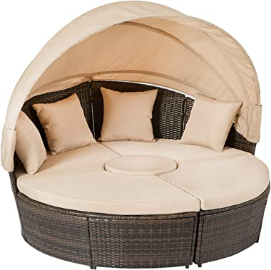 Aoxun Outdoor Patio Daybed Backyard Furniture Covers Sets Round Bed with Retractable Canopy and Washable Cushions, Lounge Pat