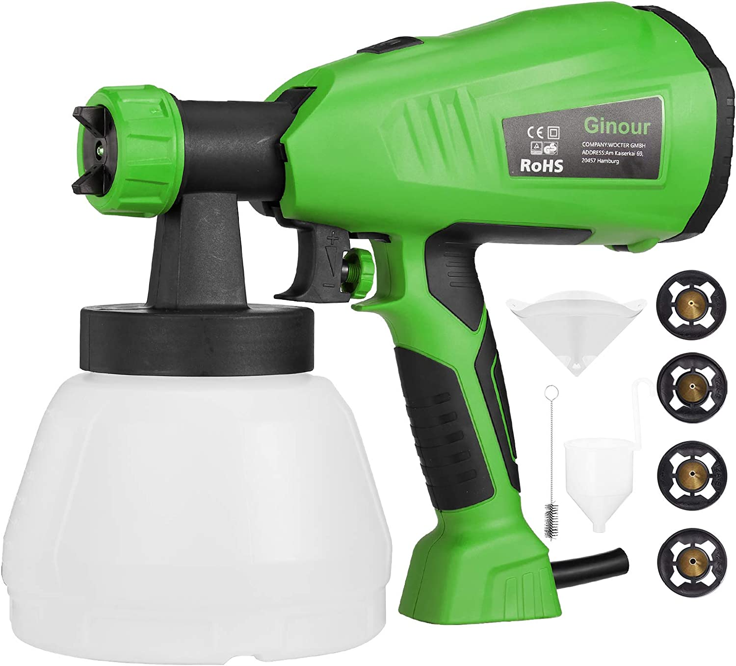 Paint Sprayer GINOUR 1300ml HVLP Electric 4 Copp Deluxe Genuine Free Shipping Gun with Spray