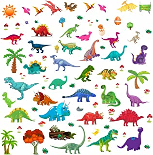 Lemostaar Wall Stickers - Decorative Dinosaur Stickers for Boys & Girls - 77pcs Colorful Assorted Dinosaur Wall Decals for Bedroom, Baby Nursery, Classroom, Playroom and More