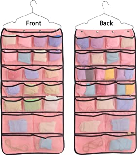 TGbranch Dual-Sided Hanging Closet Organizer for Underwear, Stocking,Bra and Sock,Mesh Pockets with Metal Hanger (42 Pockets Pink)