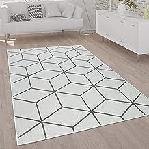 Vloerkleed Woonkamer Laagpolig Modern Scandinavische Stijl Ruit Grijs Wit, Maat:200x280 cm, Farbe:Wit
